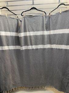 Richloom Home Fashions RN#38667 Gray/ White Fringe Hem Shower Curtain 70X60