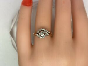 Women's Cluster Ring and band .35cttw Nat Diamonds 10kt Y/G I1 / G-H Size 6.5