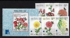 LAOS SG1078/83 + MS1084, 1988 FINLANDIA/FLOWERS & BUTTERFLIES MNH