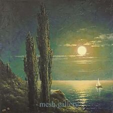 12x12 ORIGINAL FRAMED OIL PAINTING SEASCAPE Expressionism Night MOONRISE Sail