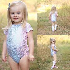 Kids Baby Girls Pink Bling Swimsuit Bodysuit One-piece Swimwear Beachwear Bikini