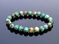 African Turquoise Natural Gemstone Bracelet 6-9'' Elasticated Healing Stone