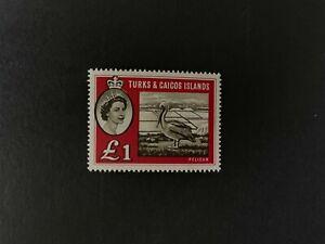 Turks & Caicos Is: 1960, £1 definitive, Pelican, SG 253, LHM.
