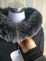 "Real Black&White Fox Fur Collar Fur Hood Trimming Scarf  80*13cm/31.5X5.1""inch"