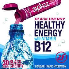 ZipFizz Black Cherry Flavor Healthy Energy Drink Mix w/ Vitamin B12 30 Tubes