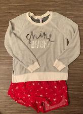 Xhilaration Shine Bright 2pc Pajama Set White Red Sz M Cotton Shorts Longsleeve