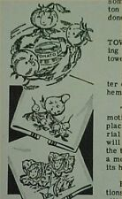 Vintage 40s Embroidery Transfer Pattern Kitchen Fruits Cherries Anthropomorphic