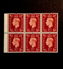 GB BOOKLET PANE SG 464c QB21 11/2 d red- Brown W/M Upright Mint.