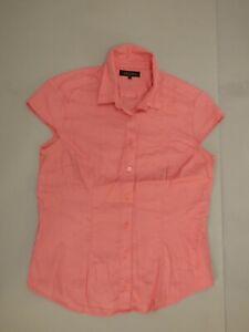 JAEGER Baby Pink Textured Cap Sleeve Cotton Shirt Blouse UK 12