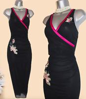 Karen Millen Black Tulle Embellished Sequin Wrap Style Prom Party Dress UK 10 38