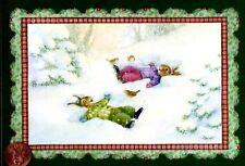 Christmas Susan Wheeler Bunny Rabbits snow Angels Bird Trees - Greeting Card
