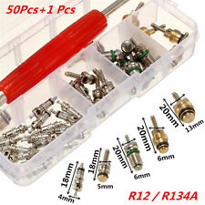 50Pcs Auto Car Air Conditioning Valve Core R12/ R134A A/C + Remover Tool w/ Box