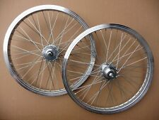 "WHEELS 20"" BMX Wheelset Front & Rear Rims 3/8"" Axle 48H Silver Bike Bicycle"
