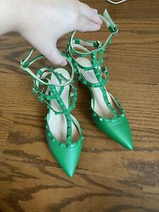 Valentino Green Leather Rockstud Cage Pumps 38 7.5