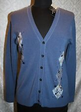 Reference Point NY Womens Cardigan Sweater M Blue Combo Soft NTW New Argyle