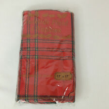"""Christmas Holiday Yuletide Plaid Napkins Set of 4 17"""" x 17"""" Inches NEW Red Green"""
