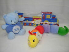 Gund plush TINKLE CRINKLE rattle TRAIN PUZZLE and WELCOME blue bear    Lot of 3