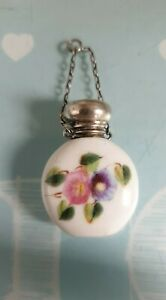 Beautiful Silver Top Mini Chatelaine Scent Bottle