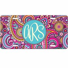 Pink Paisley Personalized Monogrammed License Plate Car Tag Initials Custom New