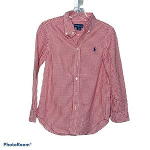 Ralph Lauren Boy's Red White Checkered Collared Oxford Career Shirt Size Medium