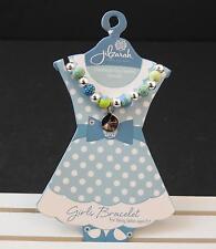 Jilzara Ladybug Blue Girls Petite Silverball Polymer Clay Bead Bracelet B4