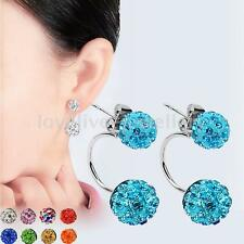 New Women Fashion Jewelry Silver Plated Double Beads Crystal Stud Earrings