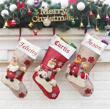 Embroidered Personalised Santa Reindeer Snow Man Stocking Sack Christmas