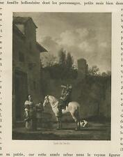 ANTIQUE COWBOY WHITE HORSE WATER DRINK SPANIEL DOG KAREL DUJARDIN SMALL PRINT