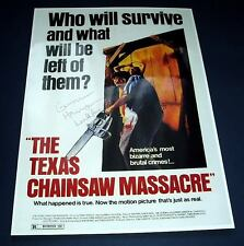 "THE TEXAS CHAINSAW MASSACRE PP SIGNED POSTER 12""X8"""