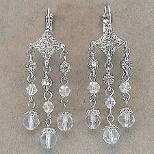 Rhodium Plated Euroleverback Crystal Dangle Earrings
