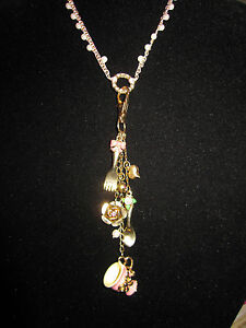 BETSEY JOHNSON RARE VINTAGE TEA PARTY CHARM LONG NECKLACE WITH PEARLS