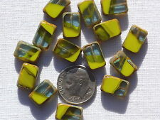 (15) Czech Glass Rectangle Beads - Gaspeite/Green Mix w/ Picasso RJ300352