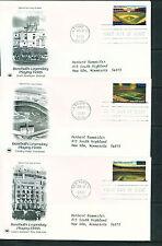 2001 FDC Set of 10 - Scott# 3510-19 - Baseball Fields - PCS Cachet   ADD