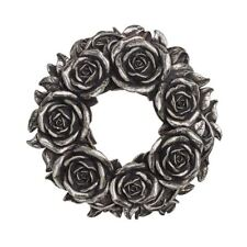 Alchemy Gothic Black Rose Silver Resin Wall Hanging Table Decoration 18cm