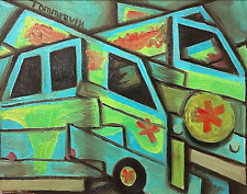 The  Mystery Machine Van  Scooby Doo Original Abstract Cubism Painting