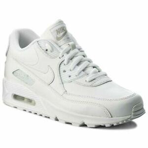 Nike Air Max 90 Leder  Herren Herrenschuhe Sneaker Turnschuhe Weiß  302519 113
