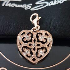 Thomas Sabo ❤ rosa corazón charm club pulsera cadena colgante 925 plata Rose oro ❤