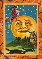Vintage Halloween Moon 9 x 12 inch image on Zweigart Needlepoint Canvas