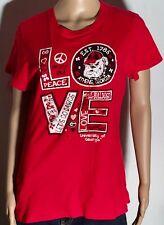 Georgia Bulldogs NCAA College Love Peace Sign Heart Womens Large L Red T-shirt