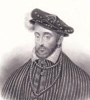 Portrait XIXe Henri II Valois d'Angoulême Catherine de Médicis