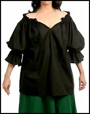 RENAISSANCE COSTUME CHEMISE TOP MEDIEVAL PIRATE PEASANT BLACK COTTON BLOUSE #C41