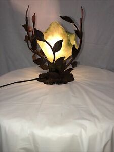 ONE LIGHT  TABLE LAMP WITH HAND  BLOW GLASS SHADE / GREEN