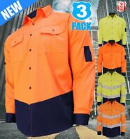 3x HI VIS SHIRT NEW DESIGN SAFETY COTTON DRILL WORK Vents UPF 50+ LONG SLEEVE