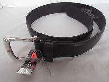 vtg Kangol mens sz 28 black leather belt silver tone metal buckle KA104 NEW