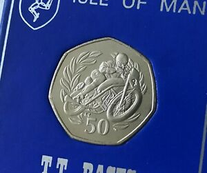 1999 Isle of Man TT Race Les Graham 50p Coin UNC in Printed Display Holder Case