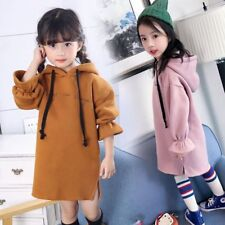 Kids Baby Girls Long Sleeve Hooded Dress Casual Knitted Autumn Winter Coat Tops