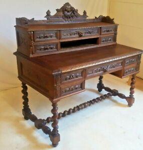 Antique French Hunt Desk Barley Twist Renaissance Revival Oak Library Office