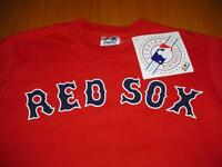 NEW WT BOSTON RED SOX # 3 WELLS RED T-SHIRT BOYS M 8 MAJESTIC COTTON