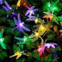 Outdoor LED Solar Dragonfly String Lights Fairy Garden Yard Lamp Decor Sun Light