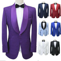 Men's Jacquard Paisley Tuxedos Prom Groom Wedding Shawl Lapel Suits One Button